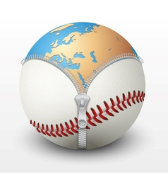 Planet Earth inside baseball ball vector image vector image