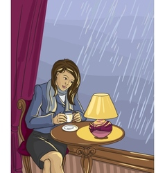 Pretty woman drinking tea in cafe vector image vector image