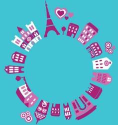 silhouettes of european cities paris vector image