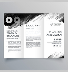 abstract black ink trifold presentation template vector image vector image