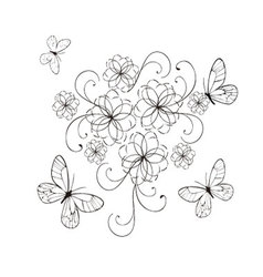 flourishes with butterflies in black vector image vector image