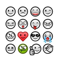 grey round smileys set vector image vector image