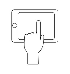 hand touch smartphone technology app vector image