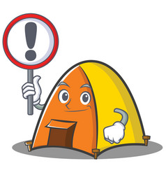 with sign tent character cartoon style vector image