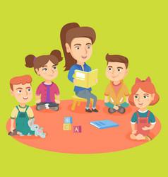 caucasian kindergartener reading a book for kids vector image vector image