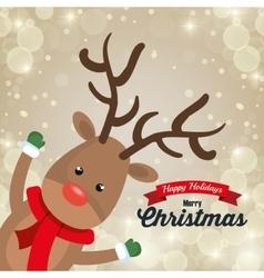 reindeer cartoon card christmas snowfall design vector image vector image