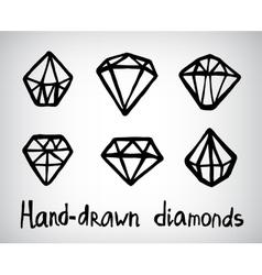 set of hand-drawn diamond icons vector image