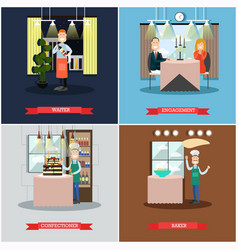 set of restaurant people square posters in vector image vector image
