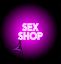 sex shop neon logo vector image