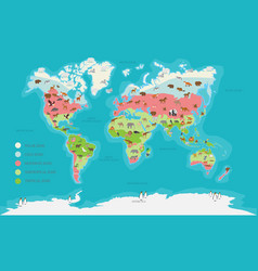 World map climate zone and animal vector