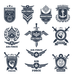 emblems and badges for air and ground forces vector image vector image