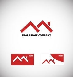 Real estate red house roof logo vector image vector image