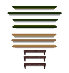 Set of shelves different colors and sizes vector image
