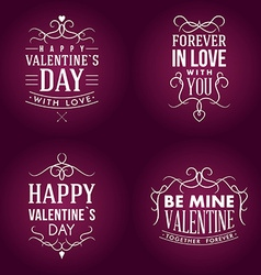 Set of Valentines day typography badge stamp and vector image