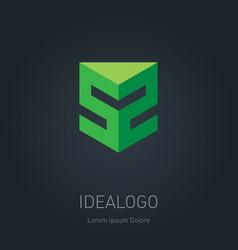 3d logo or monogram with number 52 design element vector image