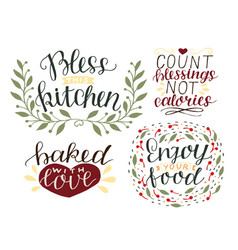 4 hand-lettering quotes about food bless this vector