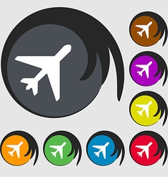 airplane icon sign Symbol on eight colored buttons vector image