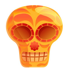 Ancient mexican skull icon cartoon style vector