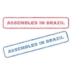 assembled in brazil textile stamps vector image