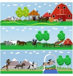 banners horse riding flat design vector image