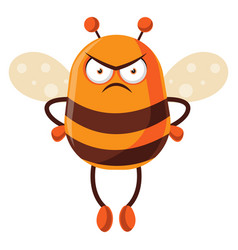 Bee looking mad on white background vector