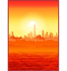 Big city at sunset vector image vector image