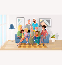 Big family spending time together at home vector