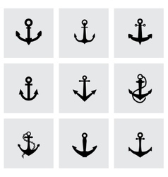 Black anchor icon set vector