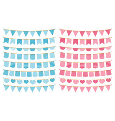 Blue and pink bunting vector