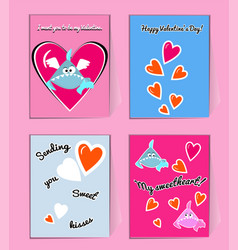 blue and pink sharks with hearts cute valentine vector image