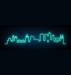 blue neon skyline bordeaux bright bordeaux vector image
