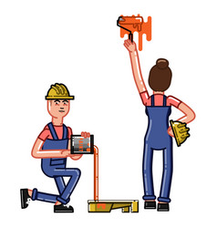 builder paint a wall vector image