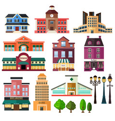 buildings and lamp post icons vector image