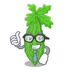 Businessman bitter melon gourd on shape cartoon vector