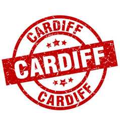 Cardiff red round grunge stamp vector