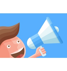 Cartoon businessman character with megaphone vector image