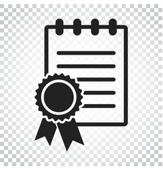 certificate icon diploma symbol flat on isolated vector image