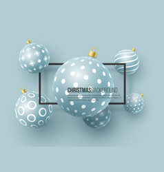christmas blue baubles with geometric pattern 3d vector image