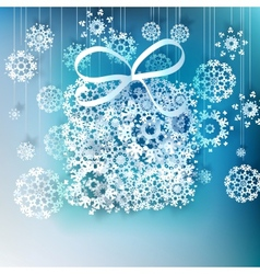 Christmas gift box made from snowflakes vector image