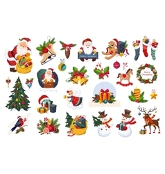 Classic Beautiful Christmas Stickers On White vector image