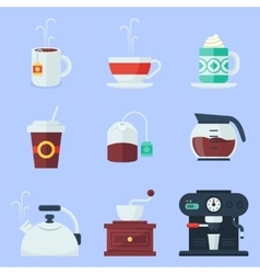 Coffee tea cup and devices flat icons set vector
