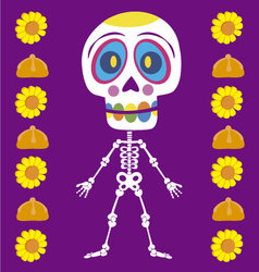 Colored skull of day of the dead vector