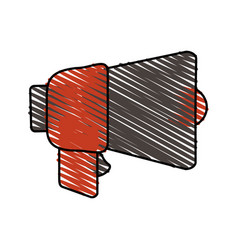 Colorful crayon silhouette of megaphone closeup vector