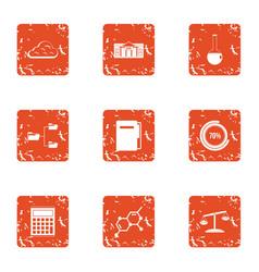 Computing machine icons set grunge style vector