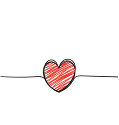 continuous line heart with doodle hand drawn vector image