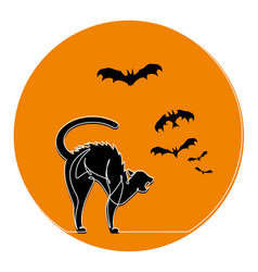 continuous line scared cat halloween cartoo vector image