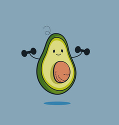 Cute avocado cartoon character doing exercises vector