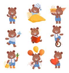 cute cartoon bears set bear animal reading vector image