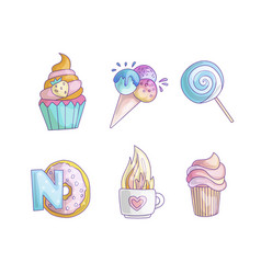 Cute cartoon little princess icon set - sweets vector