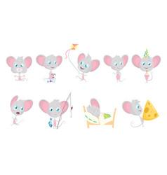 cute grey mouse set mouses eats fishing run vector image